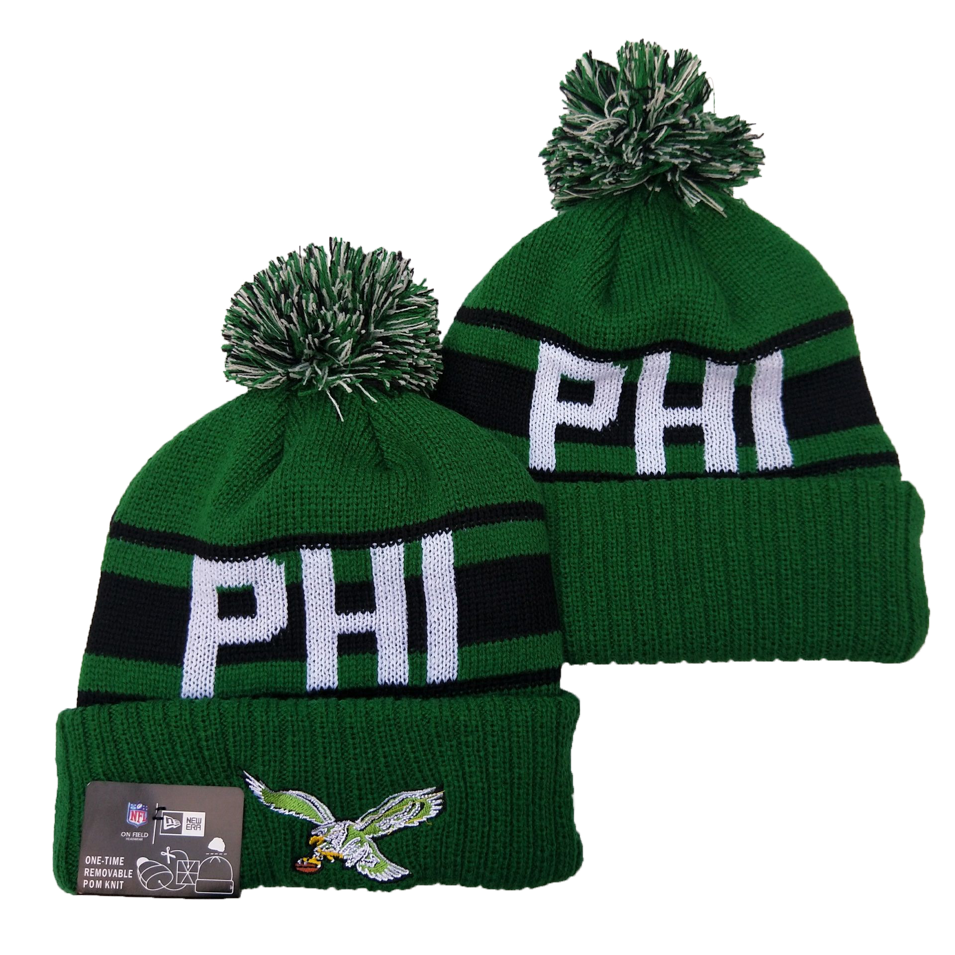 Eagles Team Logo Green Pom Knit Hat YD