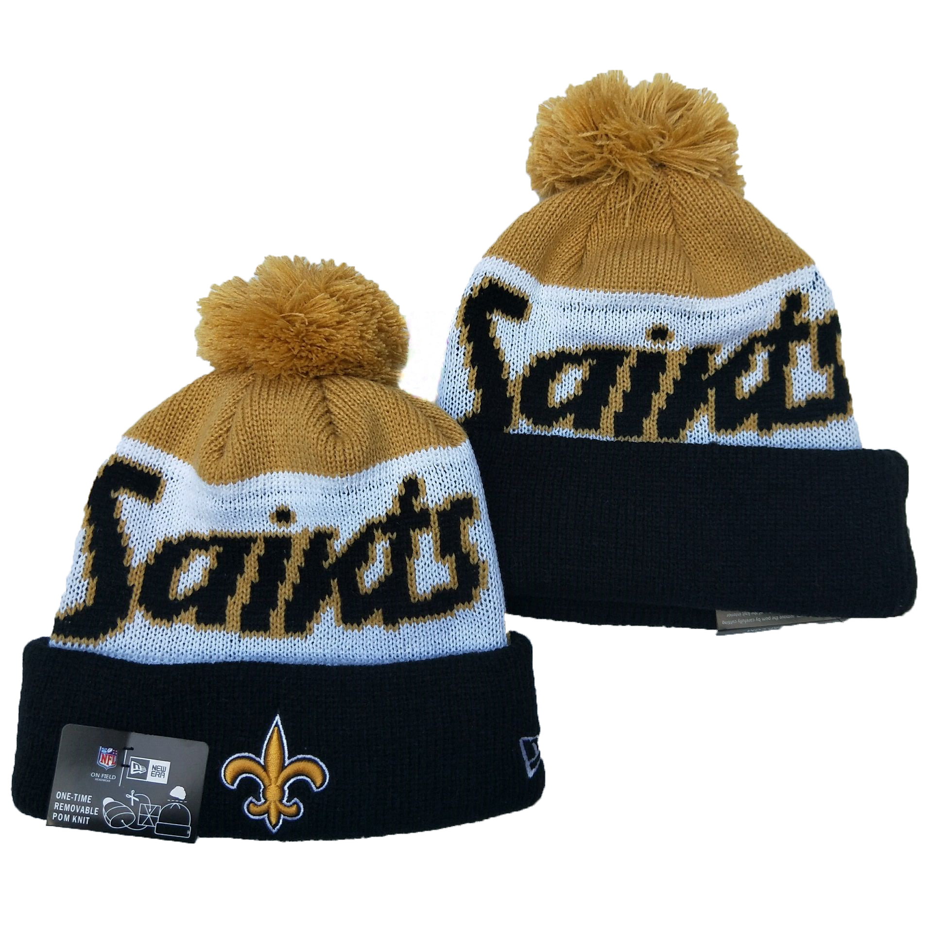 Saints Team Logo Cream White Black Pom Knit Hat YD
