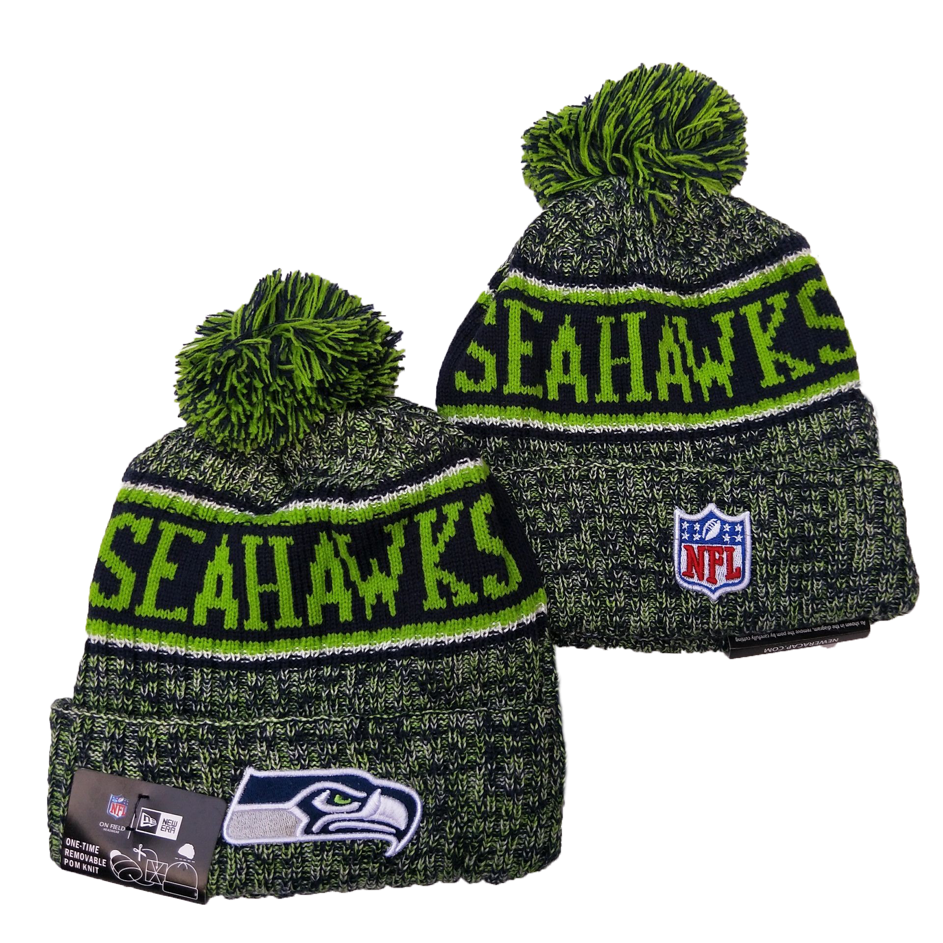 Seahawks Fresh Logo Green Pom Knit Hat YD