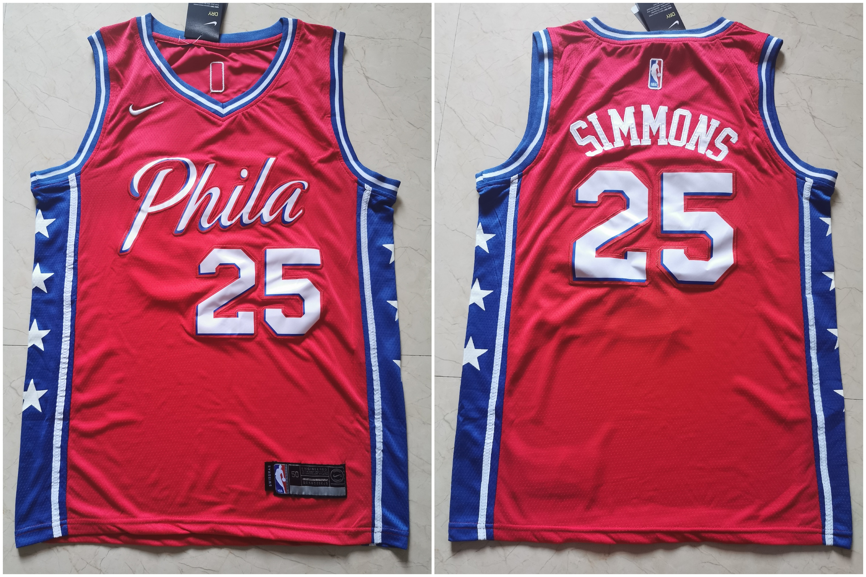 76ers 25 Ben Simmons Red Nike Swingman Jersey