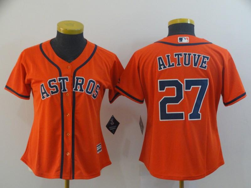 Astros 27 Jose Altuve Orange Women Cool Base Jersey