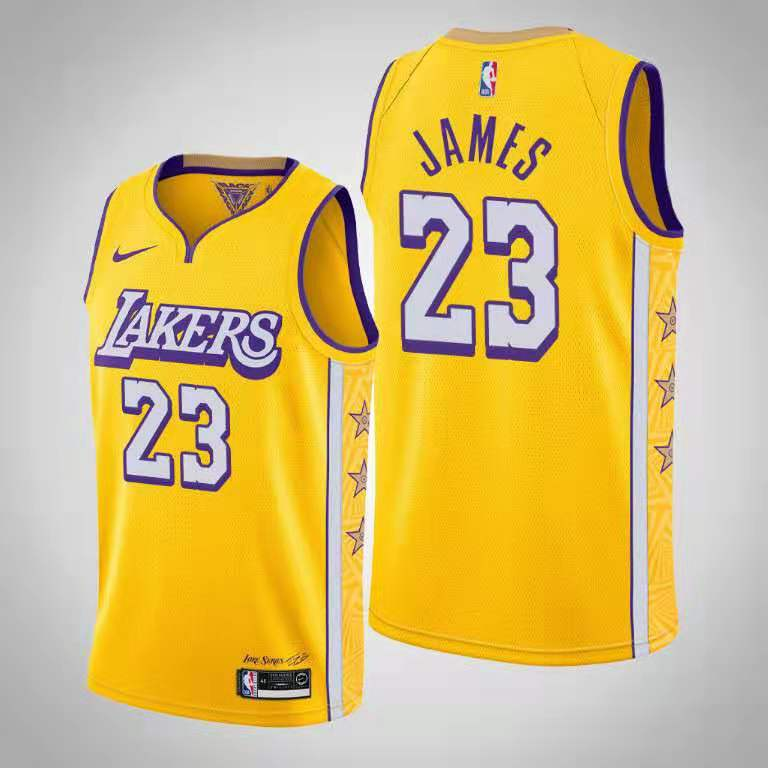 Lakers 23 Anthony Davis Yellow 2019-20 Nike City Edition Swingman Jersey
