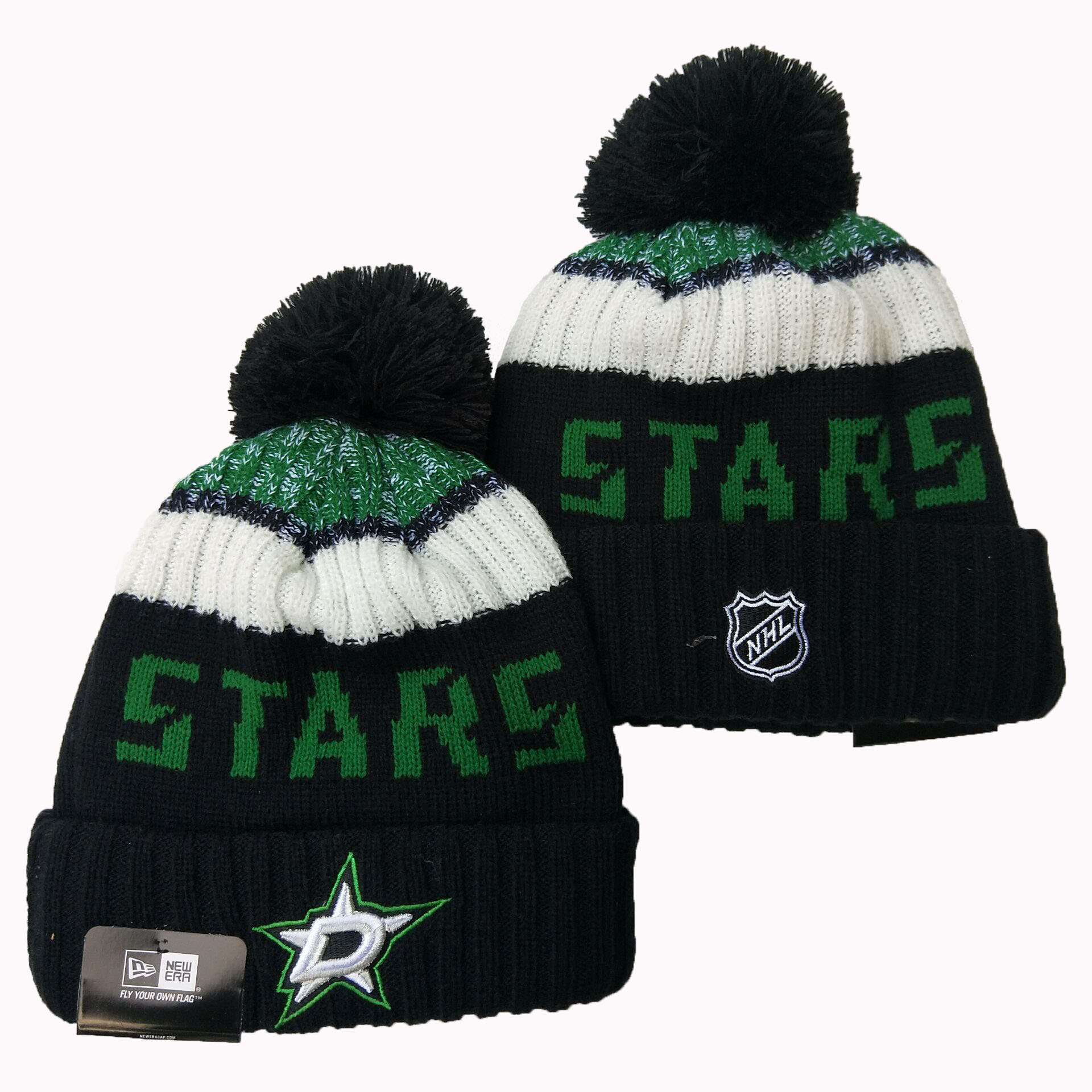 Dallas Stars Team Logo Black Pom Knit Hat YD