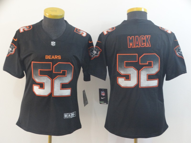Nike Bears 52 Khalil Mack Black Arch Smoke Women Vapor Untouchable Limited Jersey