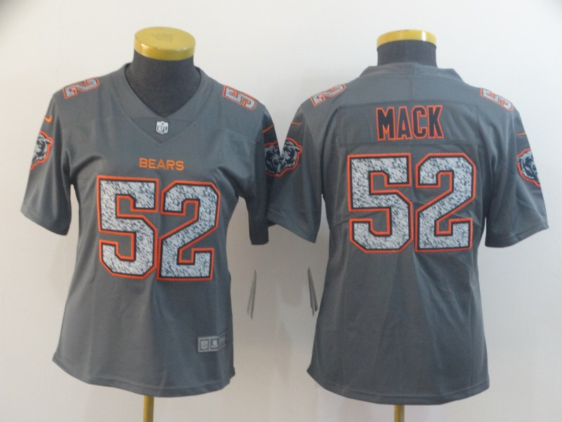 Nike Bears 52 Khalil Mack Gray Camo Women Vapor Untouchable Limited Jersey