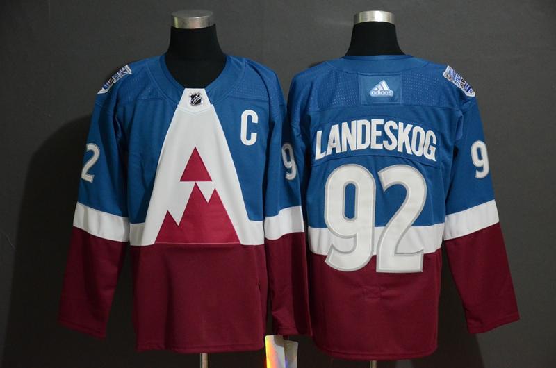 Avalanche 92 Gabriel Landeskog Blue Red 2020 NHL Stadium Series Adidas Jersey