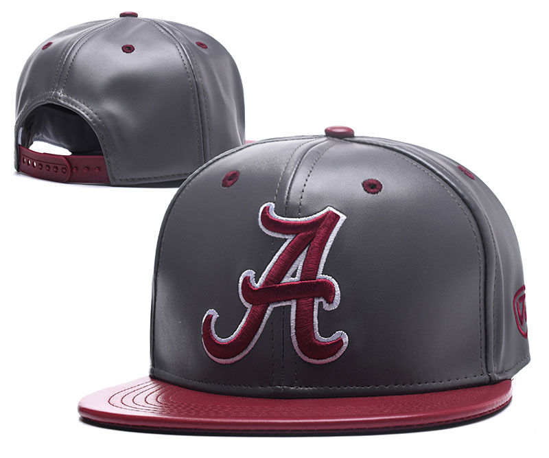 Alabama Crimson Tide Team Logo Gray Leather Adjustable Hat GS