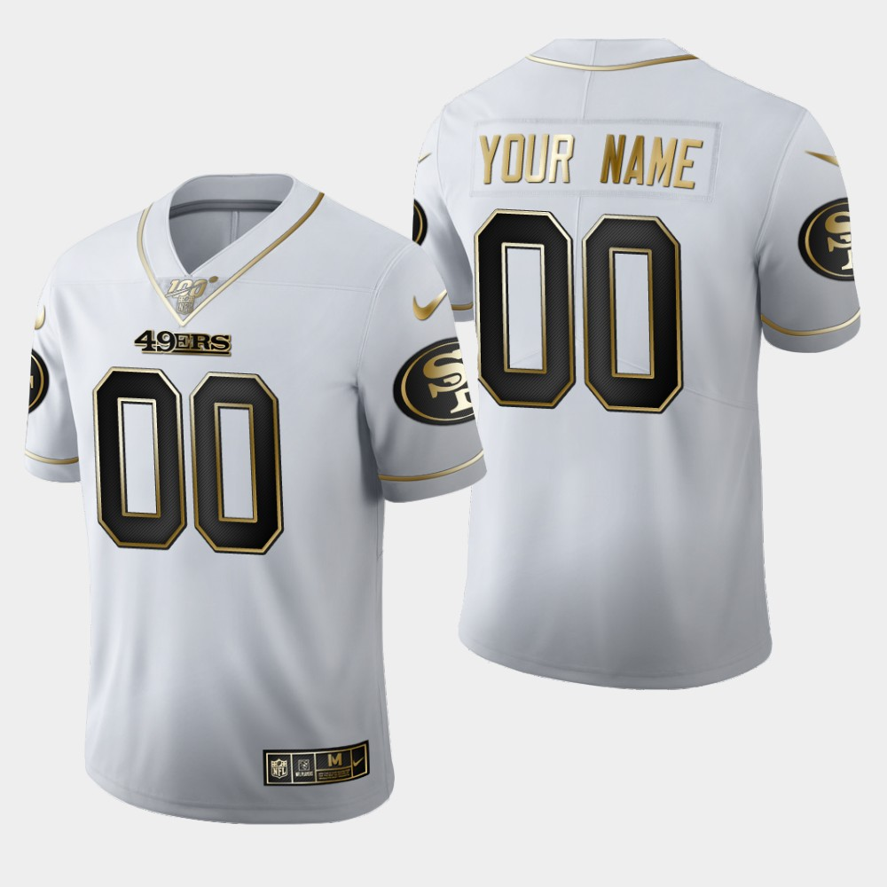 Nike 49ers Customized White 100th Season Vapor Untouchable Limited Jersey