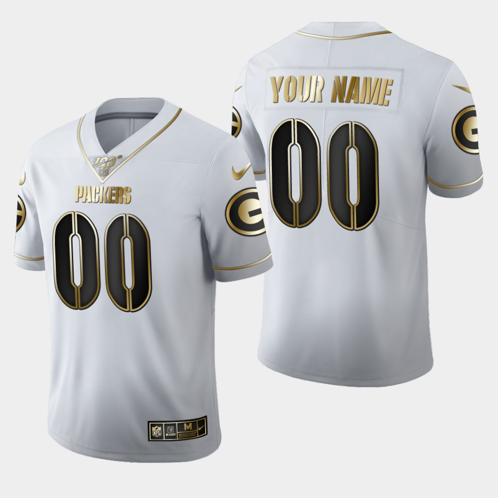 Nike Packers Customized White 100th Season Vapor Untouchable Limited Jersey