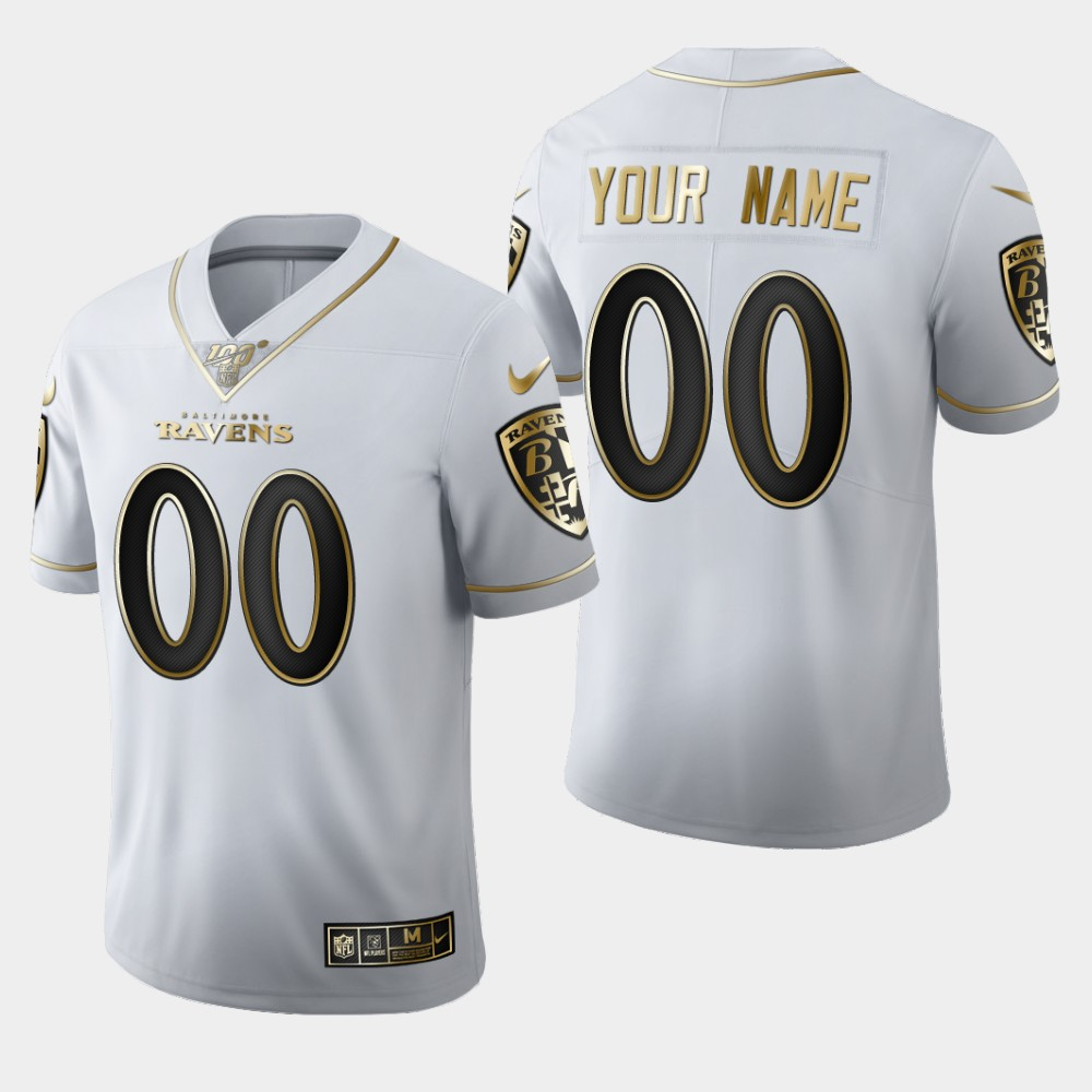 Nike Ravens Customized White 100th Season Vapor Untouchable Limited Jersey