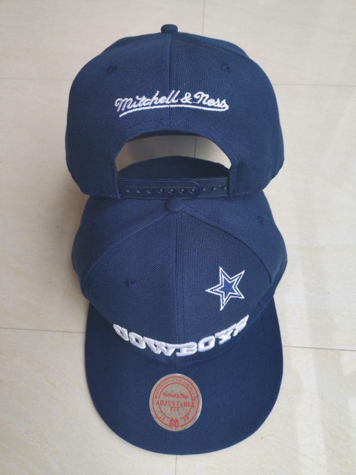 Cowboys Team Logo Navy Mitchell & Ness Adjustable Hat LT