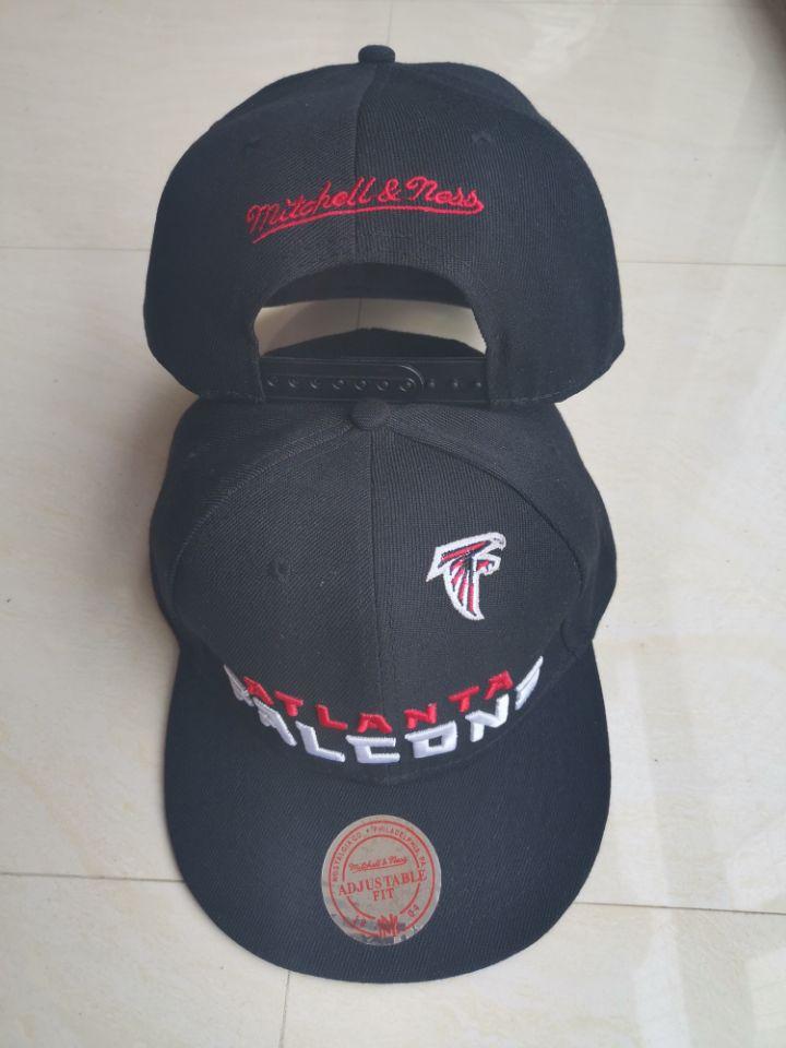 Falcons Team Logo Black Mitchell & Ness Adjustable Hat LT