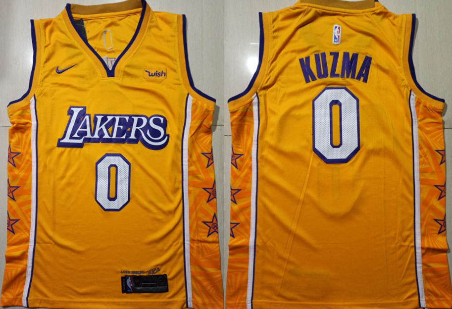 Lakers 0 Kyle Kuzma Yellow 2019-20 City Edition Nike Swingman Jersey