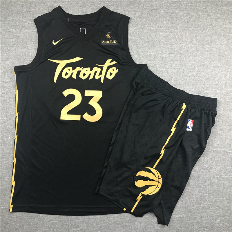 Raptors 23 Fred Vanvleet Black City Edition Nike Swingman Jersey(With Shorts)