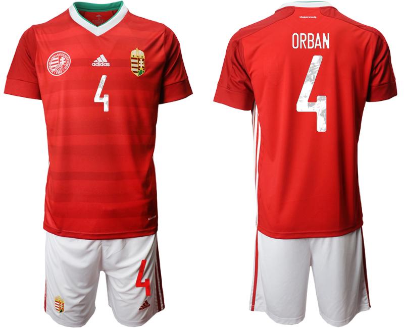 Hungary 4 ORBAN Home UEFA Euro 2020 Soccer Jersey