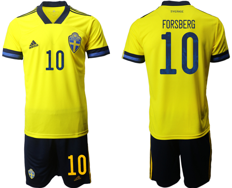 Sweden 10 FORSBERG Home UEFA Euro 2020 Soccer Jersey