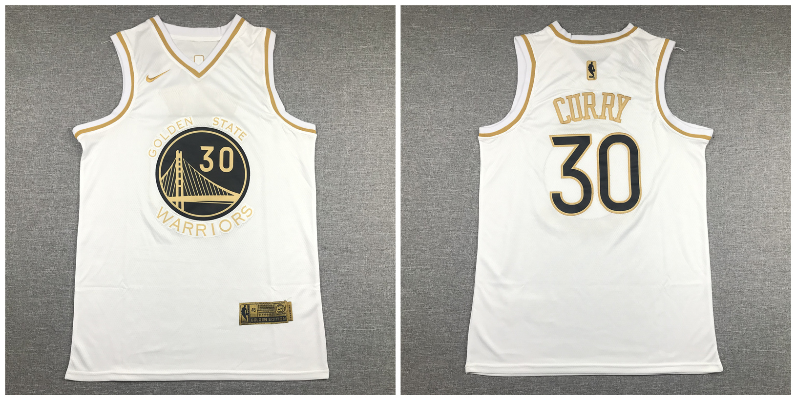Warriors 30 Stephen Curry White Gold Nike Swingman Jersey