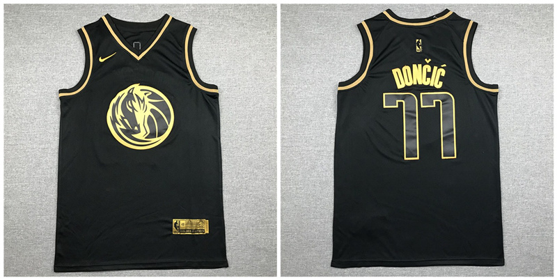 Mavericks 77 Luka Doncic Black Gold Nike Swingman Jersey