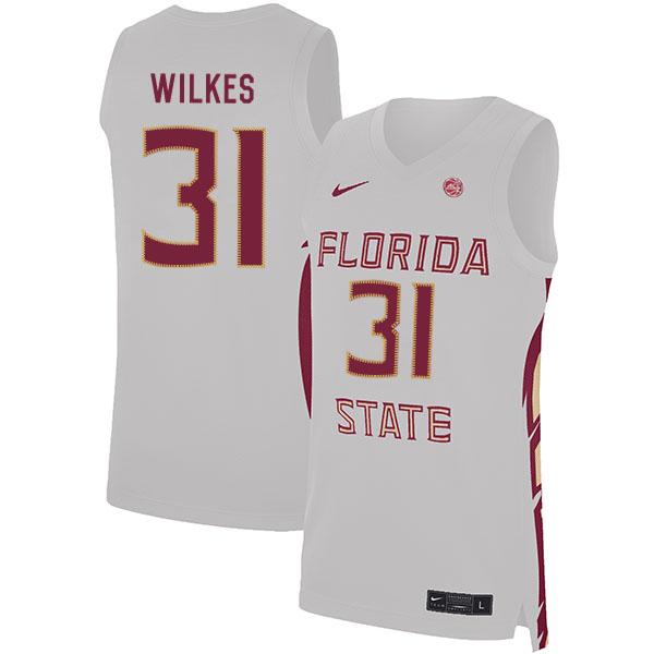 Florida State Seminoles 31 Wyatt Wilkes White Nike Basketball College Jersey