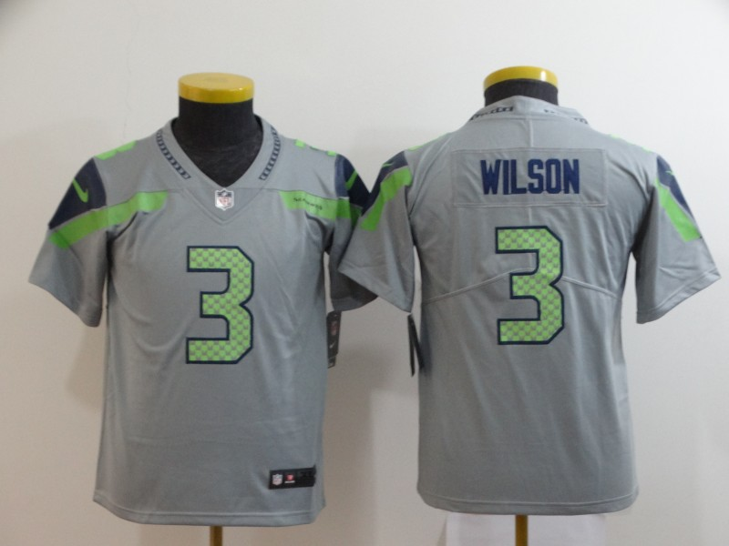 Nike Seahawks 3 Russell Wilson Gray Youth Inverted Legend Limited Jersey