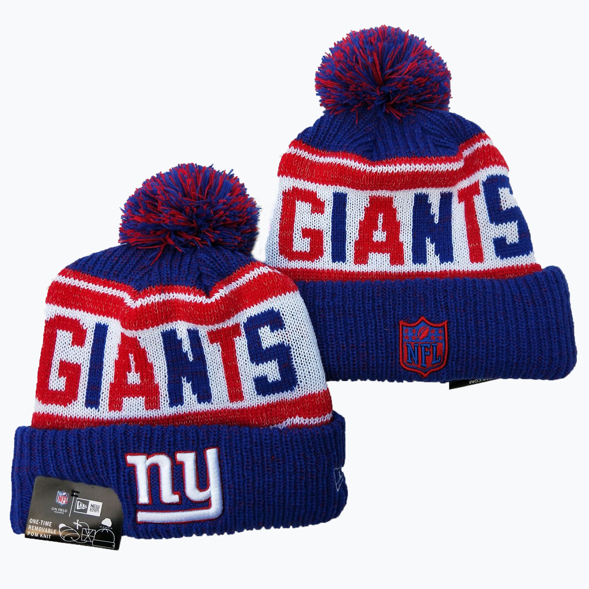 New York Giants Team Logo Royal Red Pom Knit Hat YD