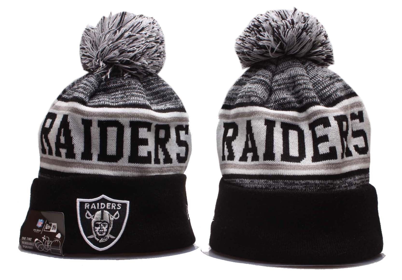 Raiders Team Logo Black Gray Wordmark Cuffed Pom Knit Hat YP
