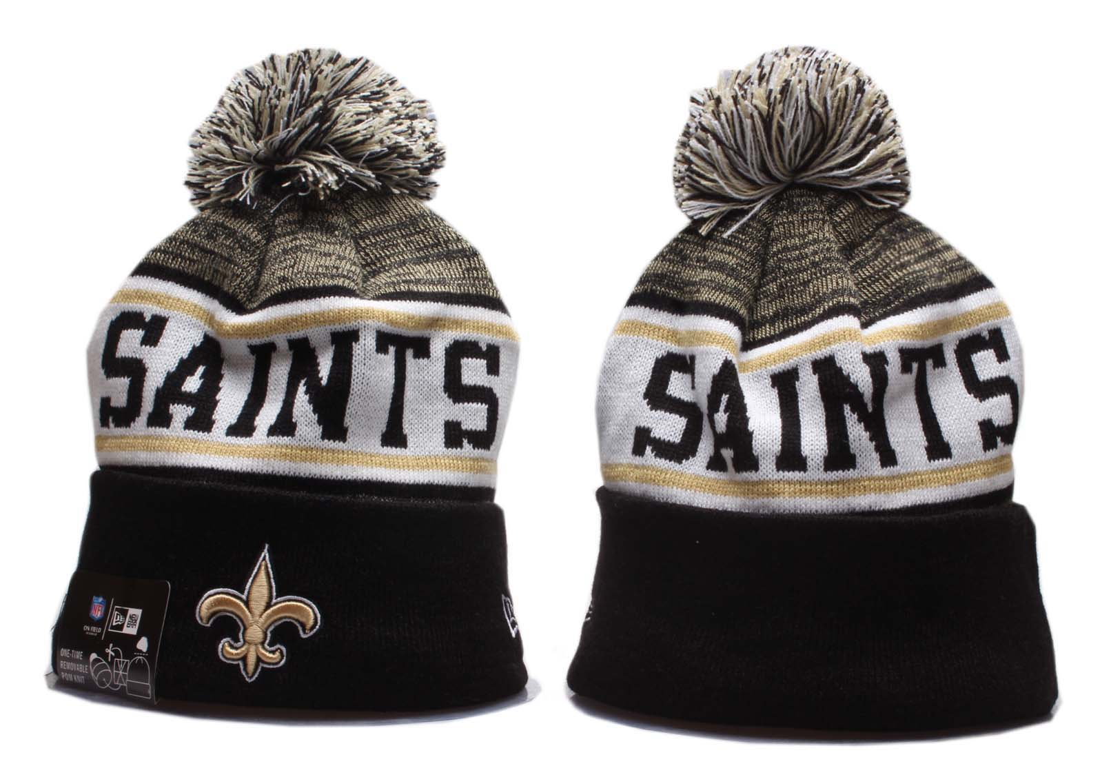 Saints Team Logo Black Wordmark Cuffed Pom Knit Hat YP