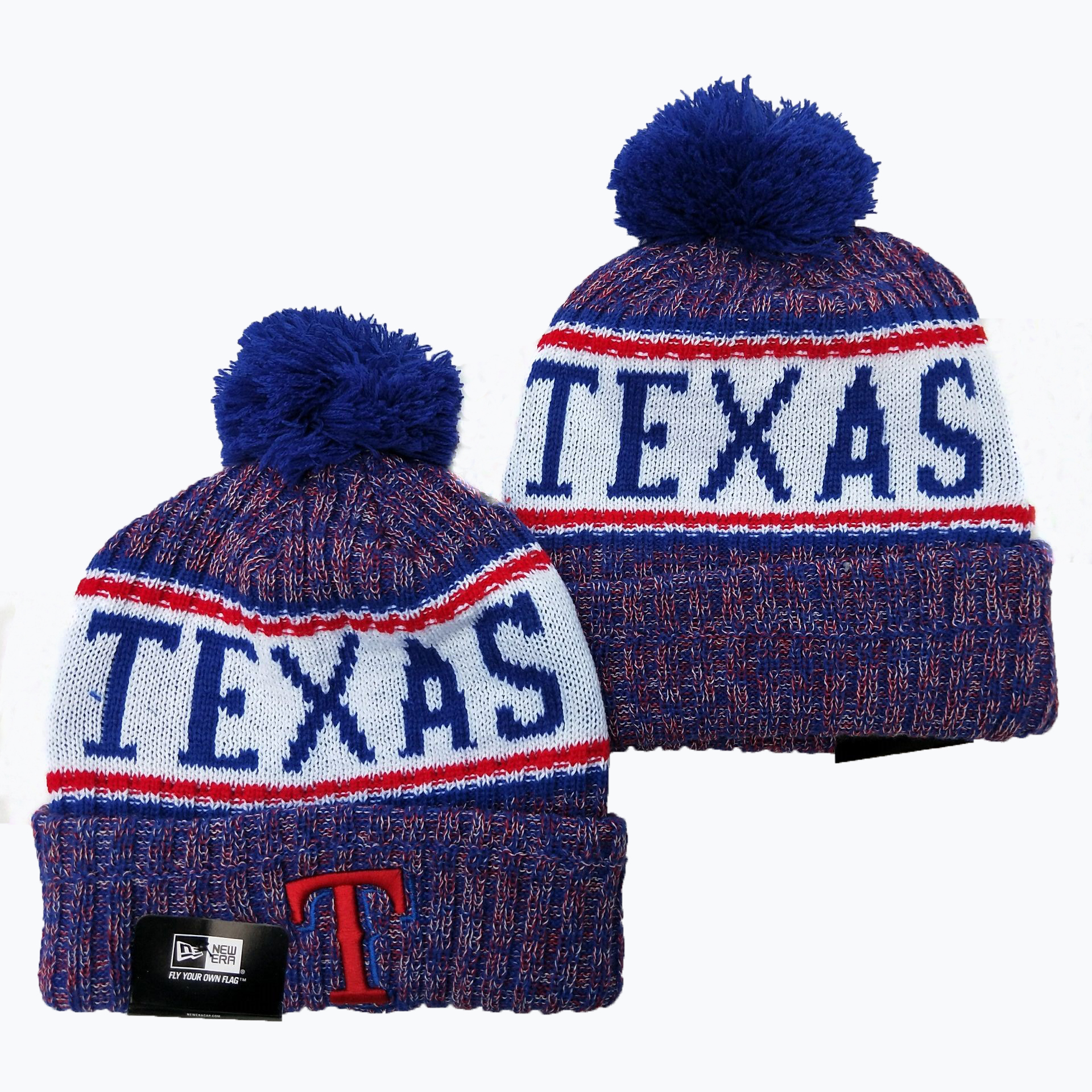 Texans Team Logo Royal Pom Knit Hat YD