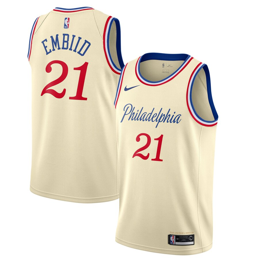 76ers 21 Joel Embiid Cream 2019-20 City Edition Nike Swingman Jersey