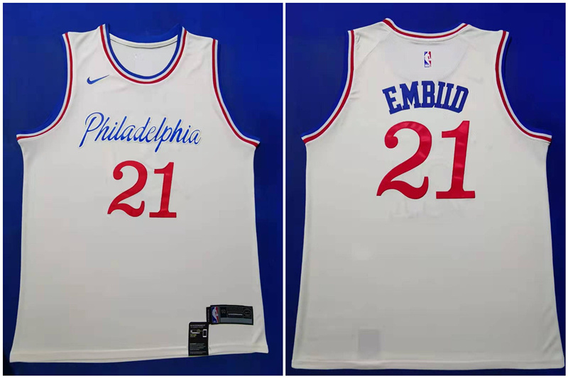 76ers 21 Joel Embiid White 2019-20 City Edition Nike Swingman Jersey