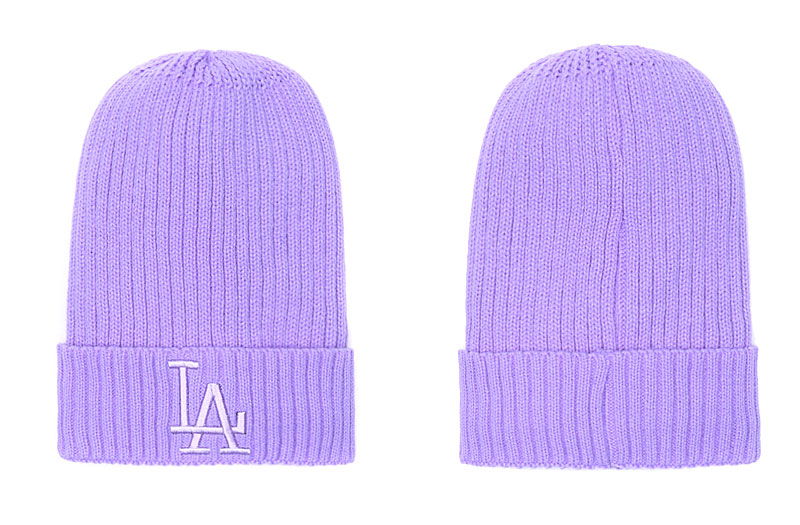 Dodgers Team Logo Purple Pom Knit Hat SG