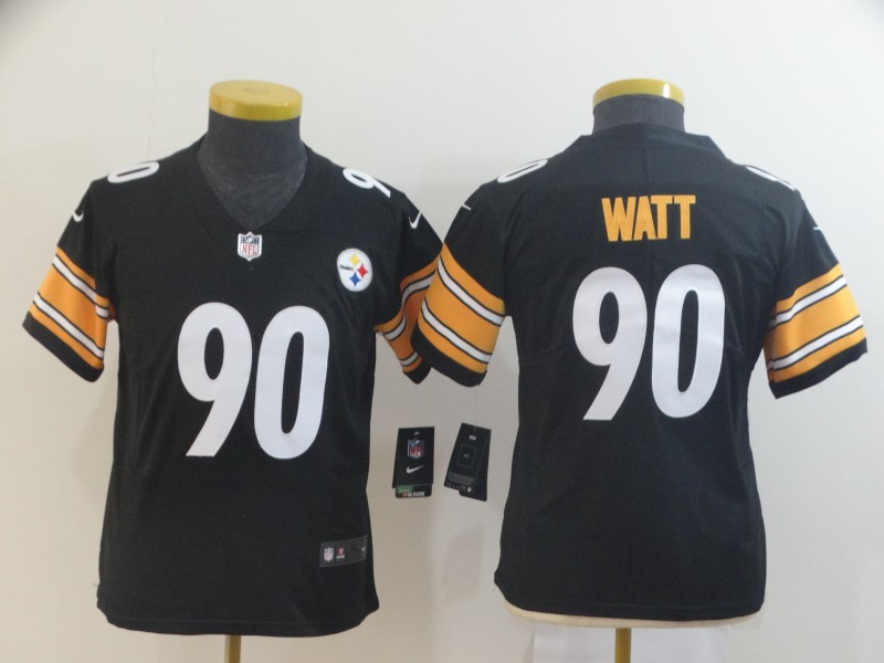 Nike Steelers 90 T.J. Watt Black Youth Vapor Untouchable Limited Jersey
