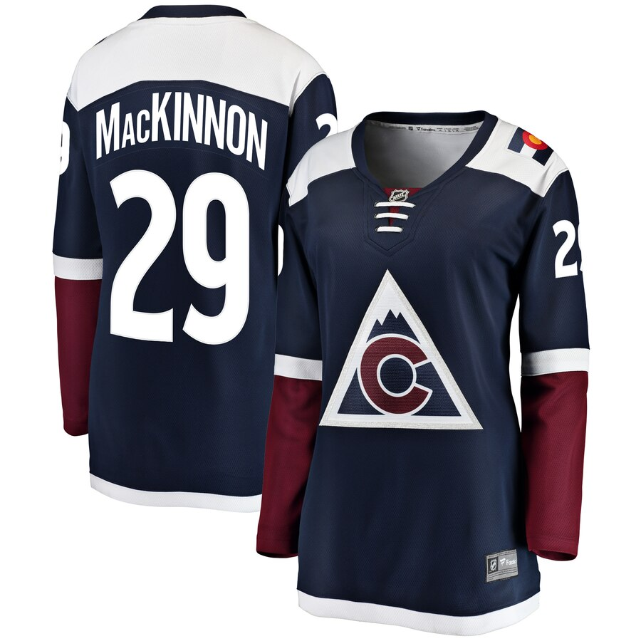 Avalanche 29 Nathan MacKinnon Navy Alternate Women Adidas Jersey