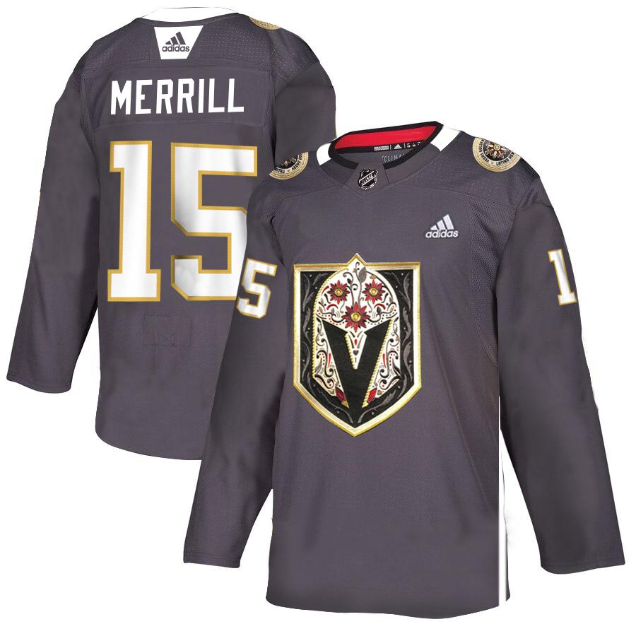 Vegas Golden Knights 15 Jon Merrill Gray Dia De Los Muertos Adidas Jersey