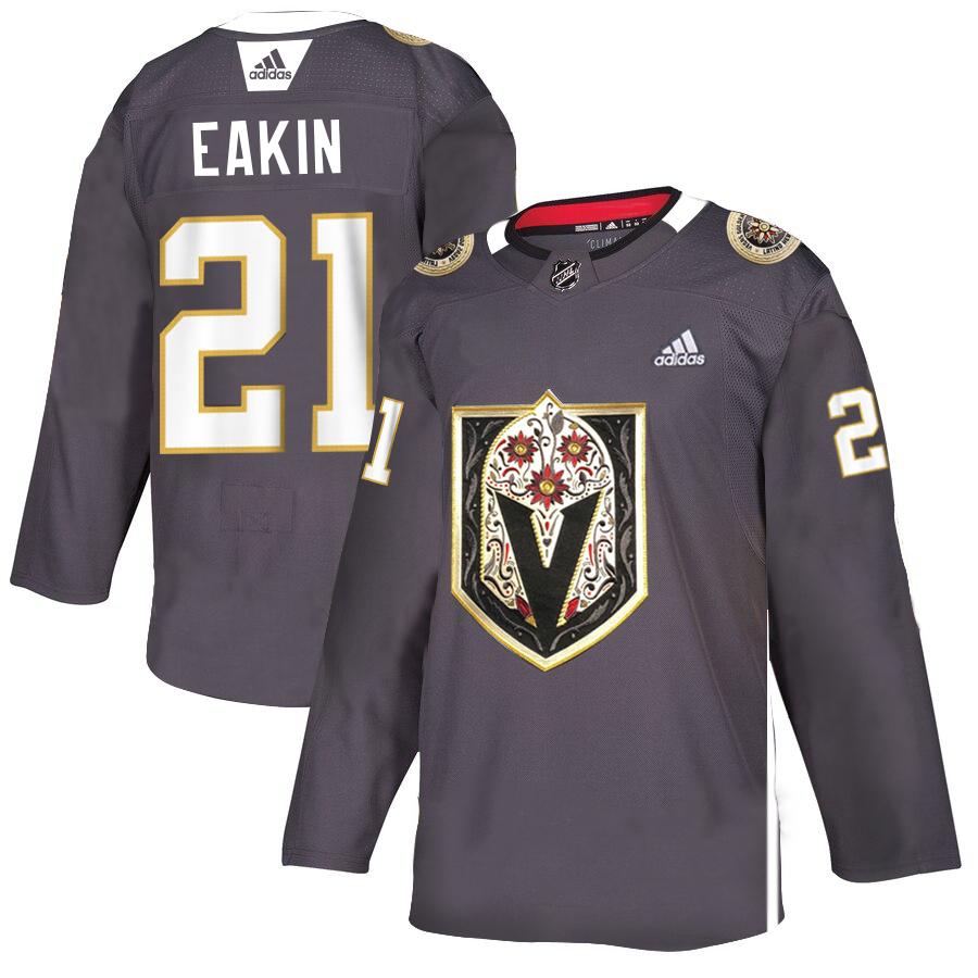 Vegas Golden Knights 21 Cody Eakin Gray Dia De Los Muertos Adidas Jersey