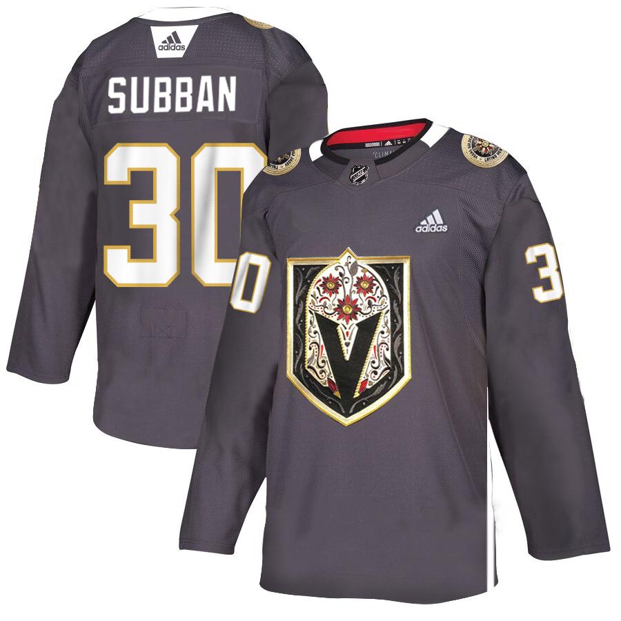 Vegas Golden Knights 30 Malcolm Subban Gray Dia De Los Muertos Adidas Jersey