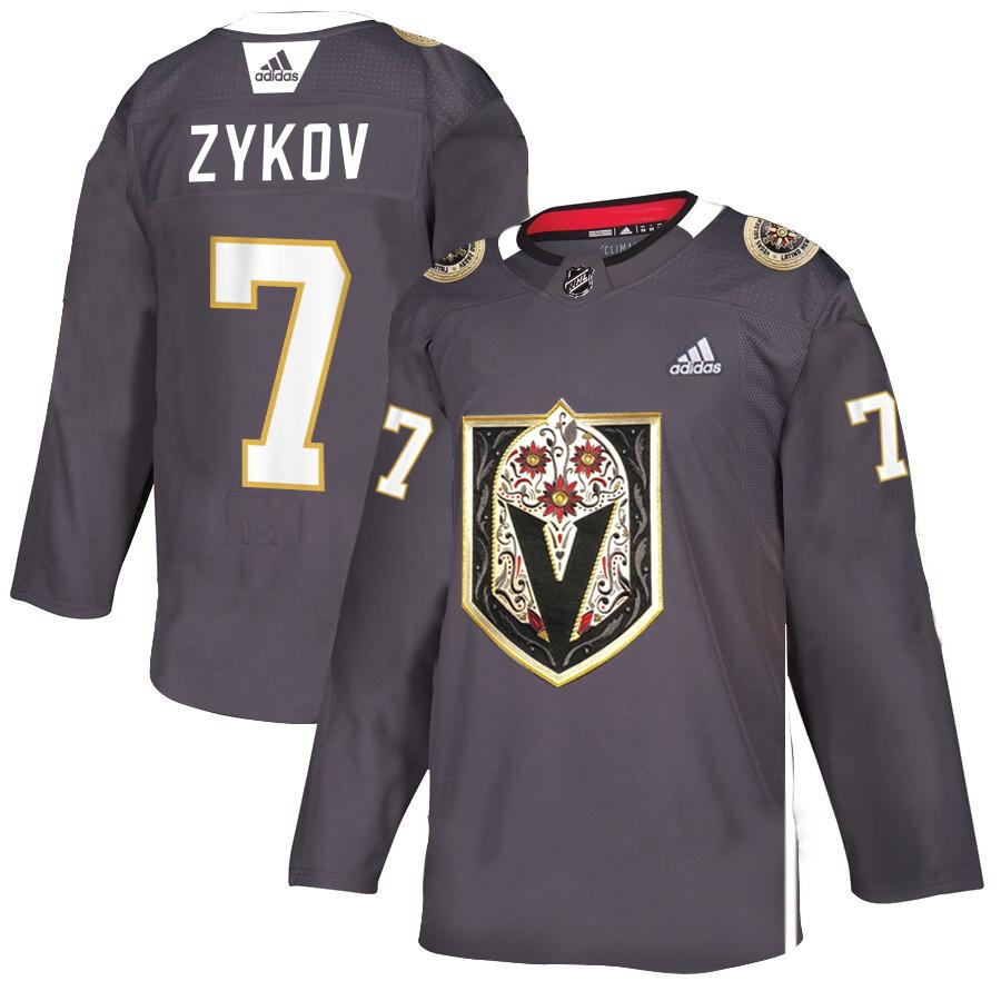 Vegas Golden Knights 7 Valentin Zykov Gray Dia De Los Muertos Adidas Jersey