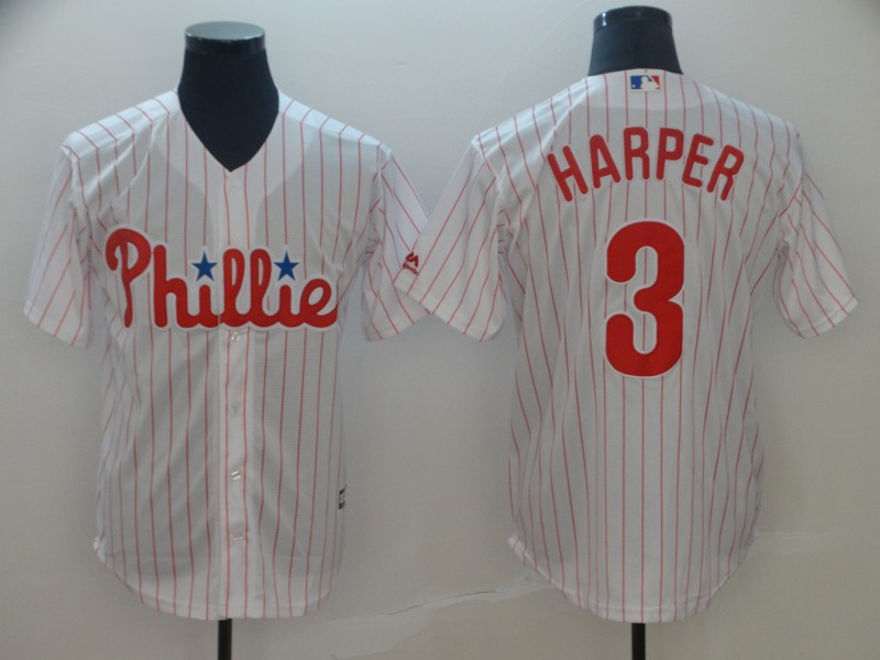 Phillies 3 Bryce Harper White Cool Base Jersey