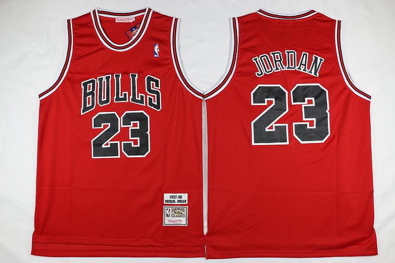 Bulls 23 Michael Jordan Red 1997-98 Hardwood Classics Jersey