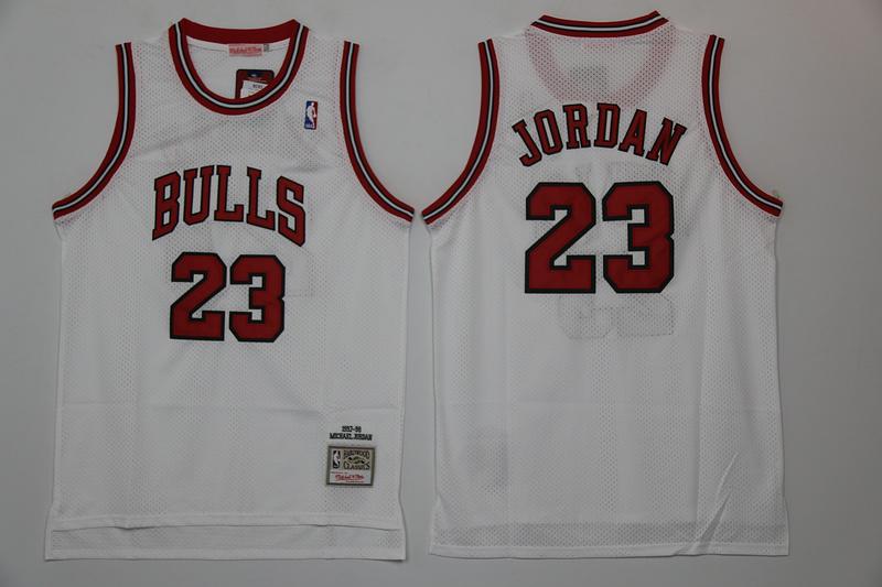 Bulls 23 Michael Jordan White Hardwood Classics Mesh Jerseys