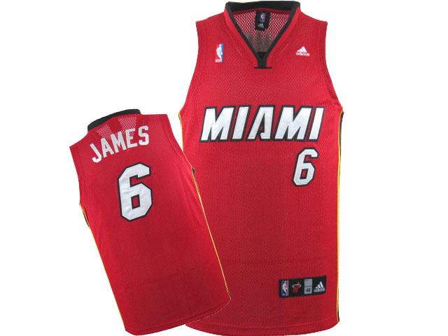Heat 6 LeBron James Red Swingman Jersey