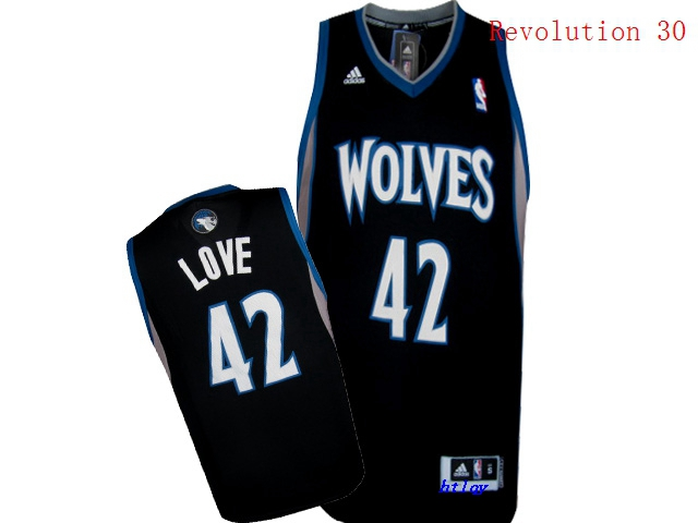 Timberwolves 42 Kevin Love Black Revolution 30 Jersey