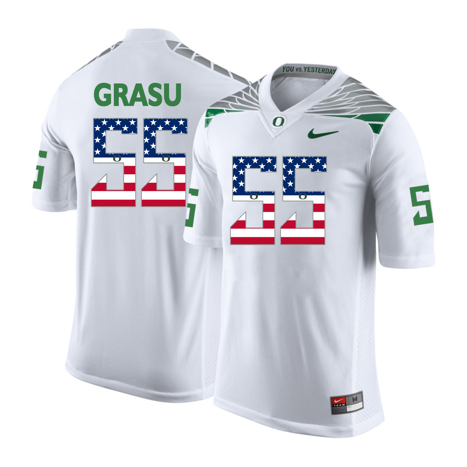 Oregon Ducks 55 Hroniss Grasu White USA Flag College Football Jersey