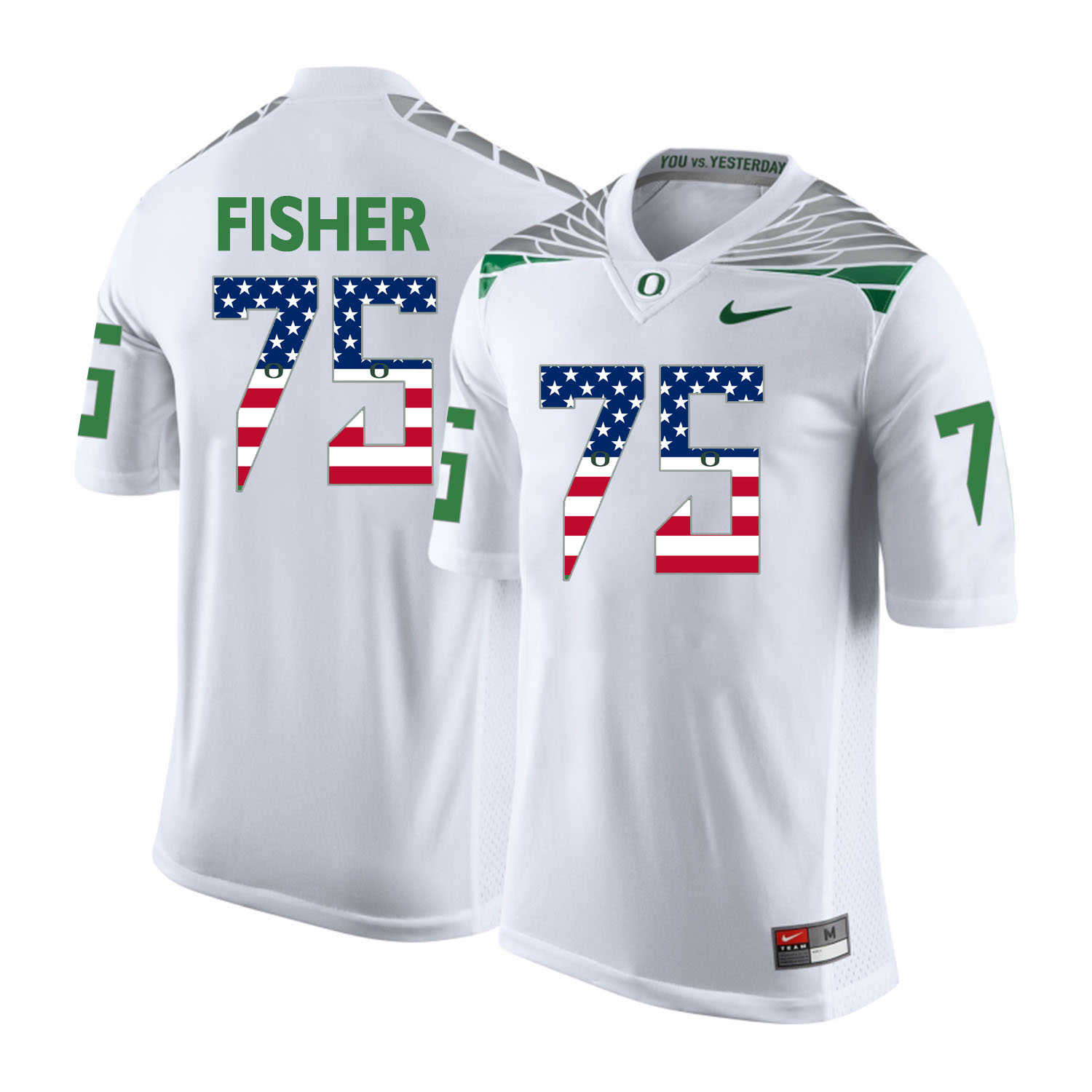 Oregon Ducks 75 Jake Fisher White USA Flag College Football Jersey