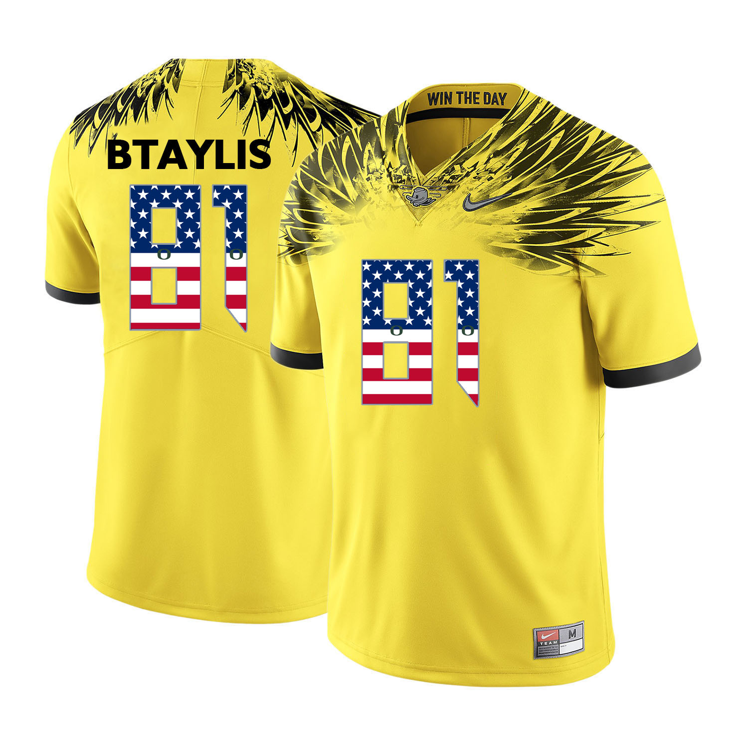 Oregon Ducks 81 Evan Baylis Yellow USA Flag College Football Jersey