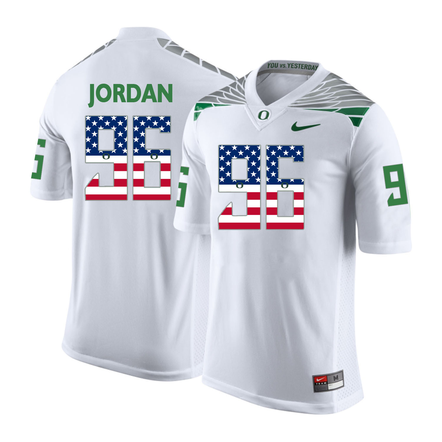 Oregon Ducks 96 Dion Jordan White USA Flag College Football Jersey