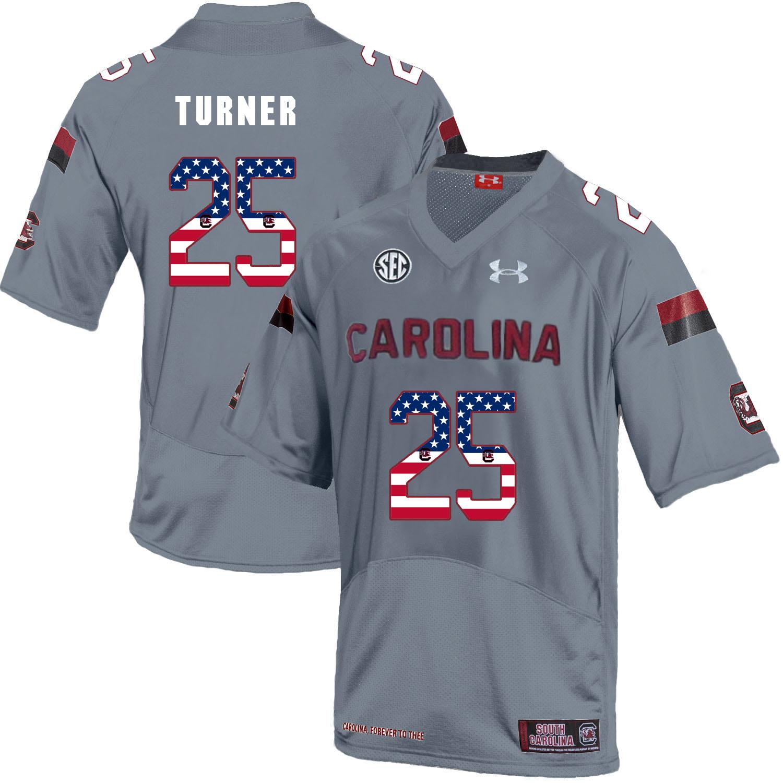 South Carolina Gamecocks 25 A.J. Turner Gray USA Flag College Football Jersey
