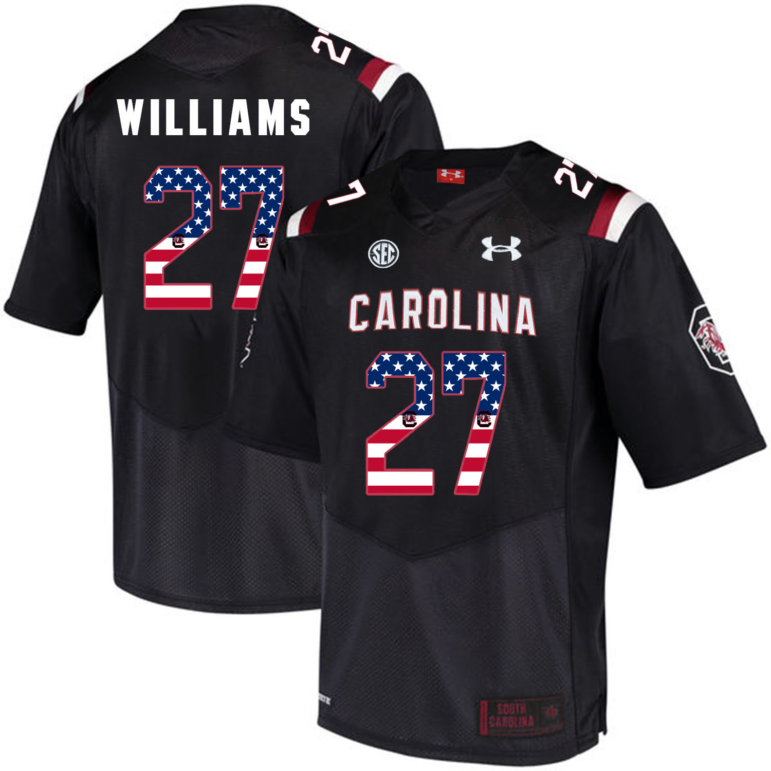 South Carolina Gamecocks 27 Ty'Son Williams Black USA Flag College Football Jersey