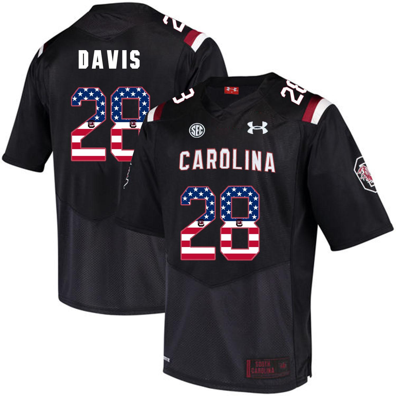 South Carolina Gamecocks 28 Mike Davis Black USA Flag College Football Jersey