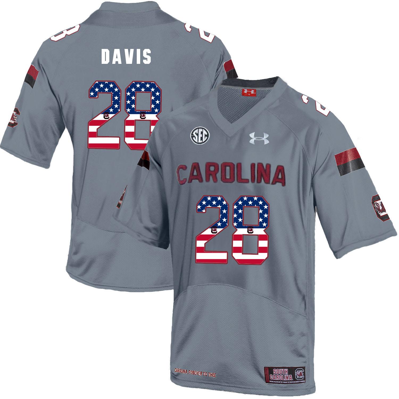 South Carolina Gamecocks 28 Mike Davis Gray USA Flag College Football Jersey